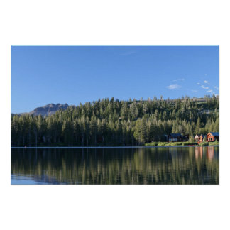 Mountain Lake, Forest, Cabins Poster