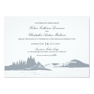 Mountain Lake Gray | Wedding Card