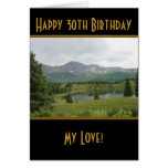 Mountain Lake - Happy 30th Birthday Card Greeting Card