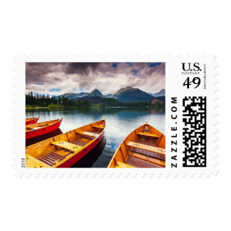 Mountain lake in National Park High Tatra Postage