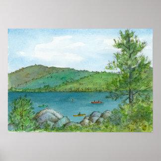 Mountain Lake Kayaking Watercolor Landscape Art Poster