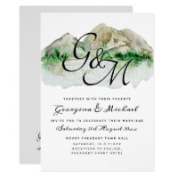Mountain Lake Monogram Wedding Invitation