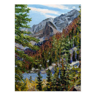 Mountain Lake Oil Landscape Painting Postcard