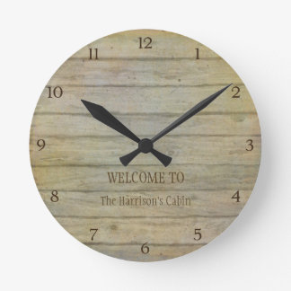 Mountain Lake Pines Welcome Cabin Personalized Round Clock