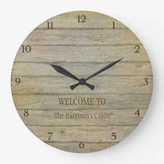 Mountain Lake Pines Welcome Cabin Personalized Clock