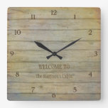 Mountain Lake Pines Welcome Cabin Personalized Square Wallclock