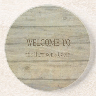 Mountain Lake Pines Welcome Cabin Personalized Coaster