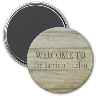 Mountain Lake Pines Welcome Cabin Personalized Magnet