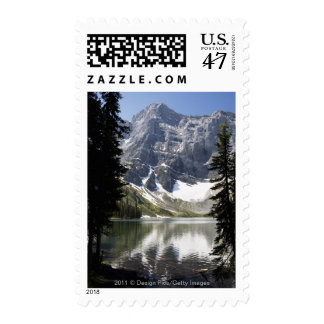 Mountain Lake Reflecting Mountain Framed By Trees Postage