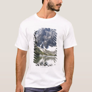 Mountain Lake Reflecting Mountain Framed By Trees T-Shirt