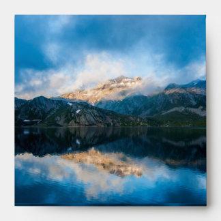 Mountain lake reflection envelope