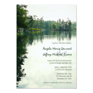Mountain Lake reflection rustic wedding invitation