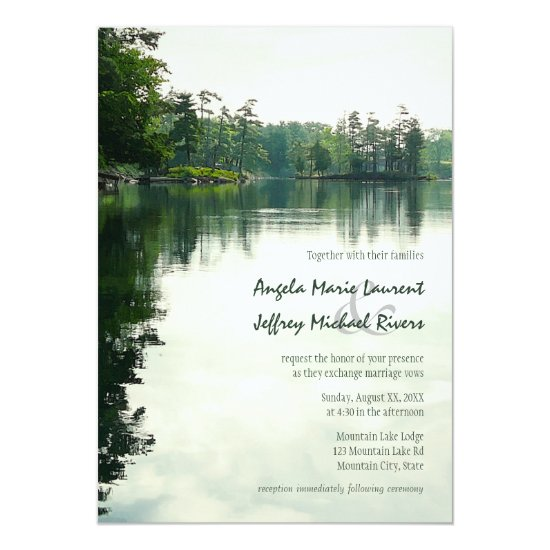 Mountain Lake reflection rustic wedding invitation