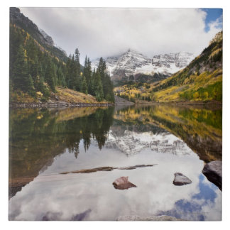 Mountain lake reflection with fall colors large square tile