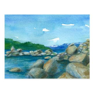 Mountain Lake Rocks Watercolor Landscape Painting Postcard