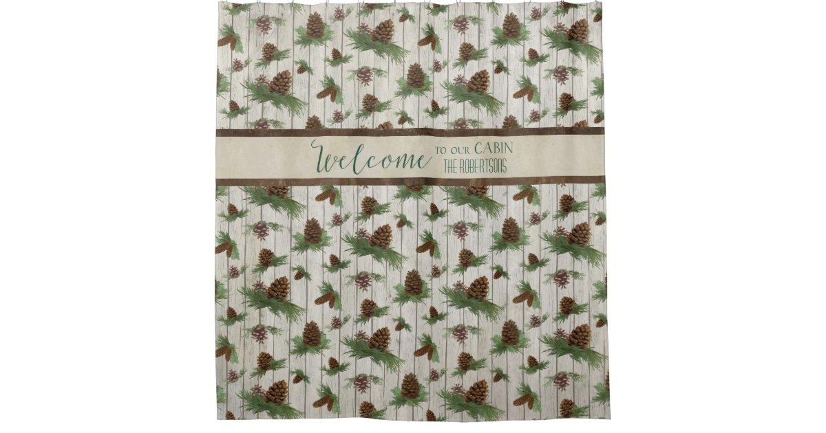 Mountain Lake Rustic Cabin Home Decor Personalized Shower Curtain Zazzle