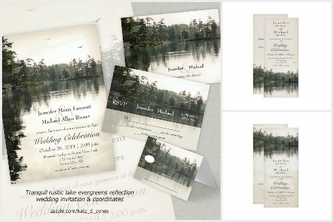Mountain Lake rustic wedding invitations and collection
