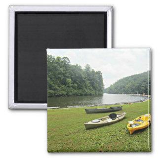Mountain lake scene 2 inch square magnet