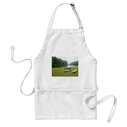 Mountain lake scene adult apron