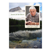 Mountain Lake Scene Memorial Card with Photo