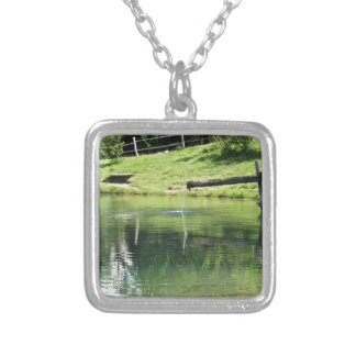 Mountain lake silver plated necklace