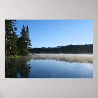 Mountain Lake, Sunrise, Mist Poster