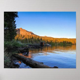 Mountain Lake, Sunset, Dock, Log Poster