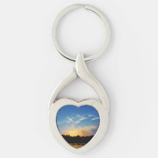 Mountain Lake Sunset Keychain