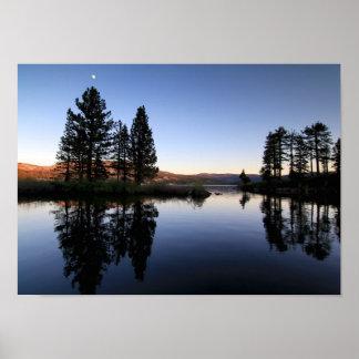 Mountain Lake, Sunset, Moon Poster