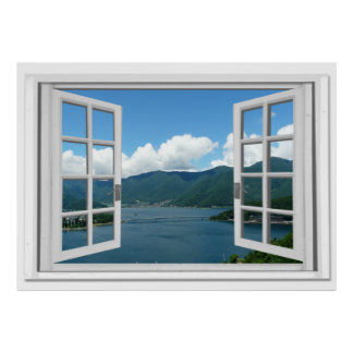 Mountain Lake View Trompe l'oeil Fake Window Poster