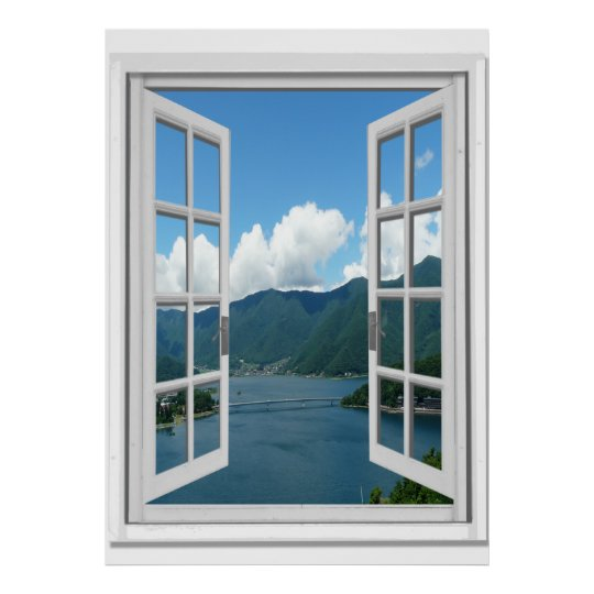 mountain lake view trompe l 39 oeil fake window poster. Black Bedroom Furniture Sets. Home Design Ideas