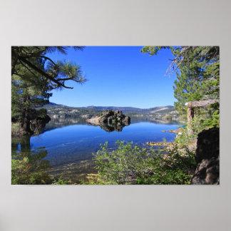 Mountain Lake, Volcanic Rock Island Dawn Poster