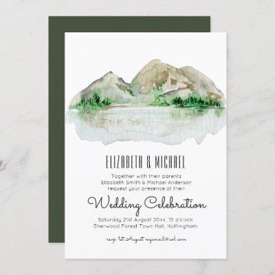 Mountain Lake Watercolor Wedding Invitation