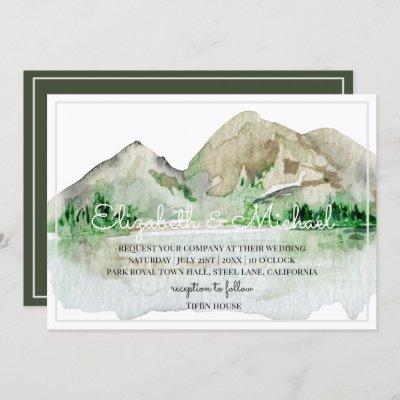 Mountain Lake Wedding Invitations Watercolor