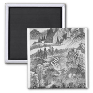 Mountain Landscape, after Huang Gongwang  1671 2 Inch Square Magnet
