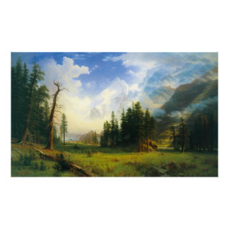 Mountain Landscape, by Albert Bierstadt Poster