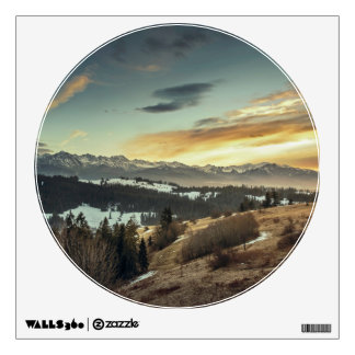 Mountain Landscape Circle Window Room Decals