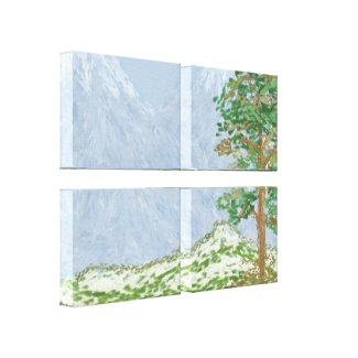 Mountain Landscape Digital Painting wrappedcanvas