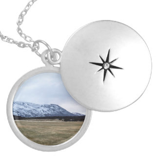 Mountain landscape in Iceland Silver Plated Necklace