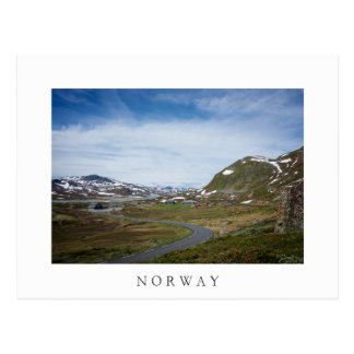 Mountain landscape in Norway white text postcard