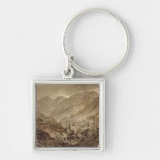 Mountain Landscape, Macugnaga, 1845 (pen & brown i Silver-Colored Square Keychain