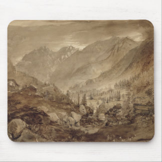 Mountain Landscape, Macugnaga, 1845 (pen & brown i Mouse Pad