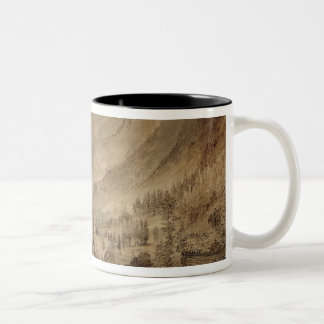 Mountain Landscape, Macugnaga, 1845 (pen & brown i Two-Tone Coffee Mug