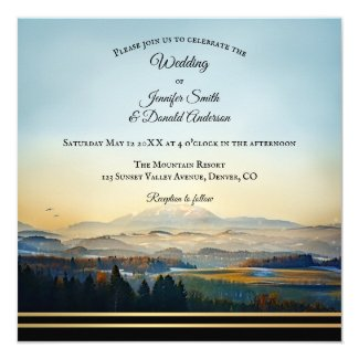 Mountain Landscape Painting Artistic Wedding Invitation