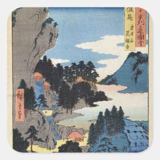Mountain landscape square sticker