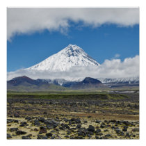 Mountain landscape: volcano, clouds and blue sky poster