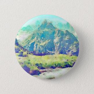 Mountain Landscape Watercolor Pinback Button