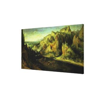 Mountain Landscape with a surprise attack, c.1585 Canvas Print