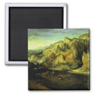 Mountain Landscape with a surprise attack, c.1585 Magnet