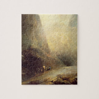 Mountain Landscape with Banditti c 1780 oil on c Jigsaw Puzzle